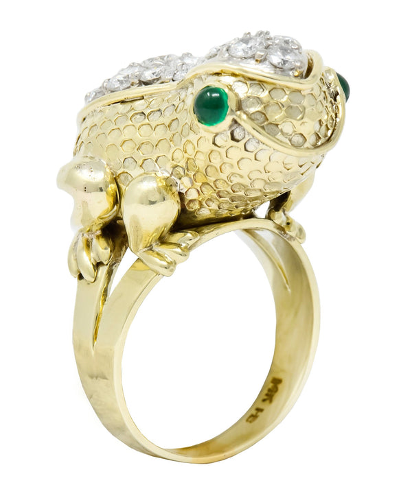 Hammerman Brothers 1970s 2.75 CTW Diamond Emerald 14 Karat Gold Frog Ring Ring Contemporary diamond emerald out-of-stock pavé