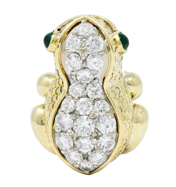 Hammerman Brothers 1970s 2.75 CTW Diamond Emerald 14 Karat Gold Frog Ring Ring