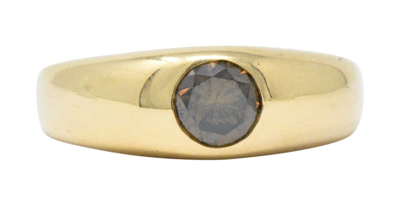 Handsome .65Cts Brown Diamond & 18K Gold Unisex Ring Ring