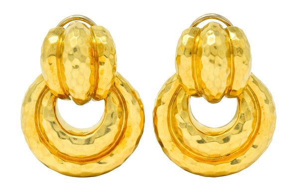Henry Dunay 18 Karat Yellow Gold Fashionable Door Knocker Earrings Earrings