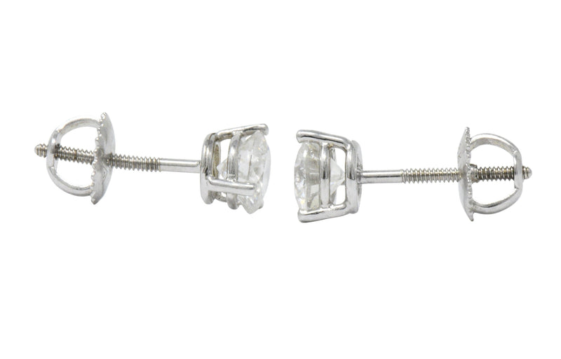 Impressive 1.20 CTW Diamond 18 Karat White Gold Martini Stud Earrings - Wilson's Estate Jewelry