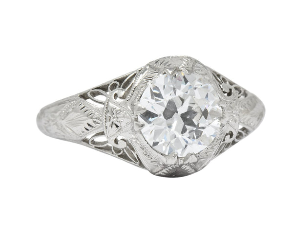 Intricate Edwardian 1.55 CTW Transitional Cut Diamond Engagement Ring Circa 1915 GIA Ring