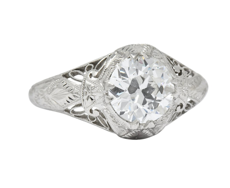 Intricate Edwardian 1.55 CTW Transitional Cut Diamond Engagement Ring Circa 1915 GIA - Wilson's Estate Jewelry