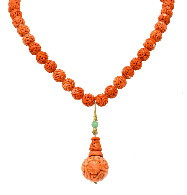 Intricate Victorian Carved Coral Jade Seed Pearl Silk Dragon Drop Necklace Necklace