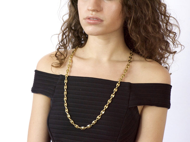 Italian 18K Gold Contemporary Unisex Anchor Link Necklace Necklace