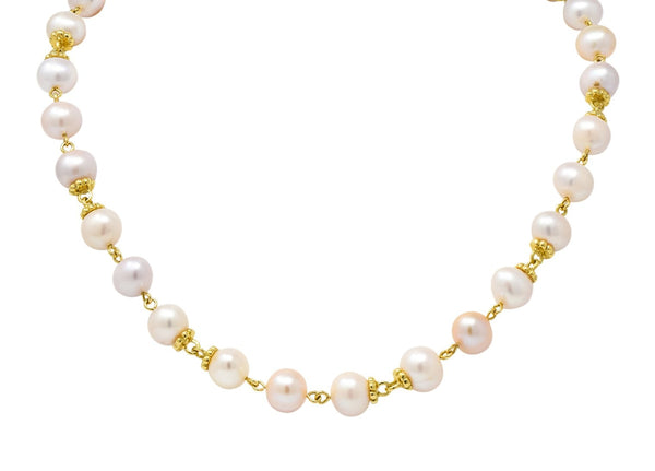 Italian Cultured Pearl 18 Karat Yellow Gold Station Necklace Necklace