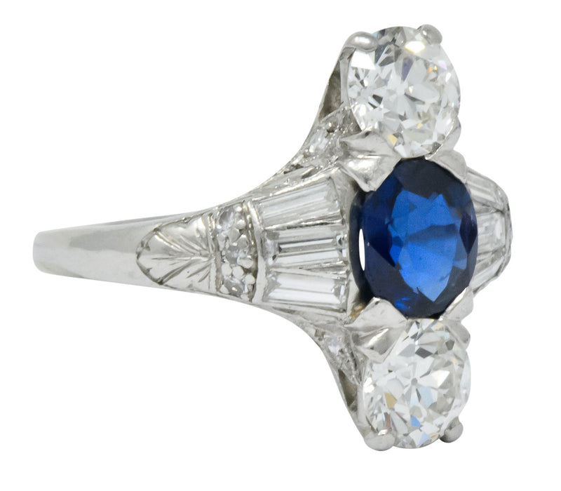 J.E.Caldwell Art Deco 2.75 CTW No Heat Sapphire Diamond Platinum Ring GIA - Wilson's Estate Jewelry