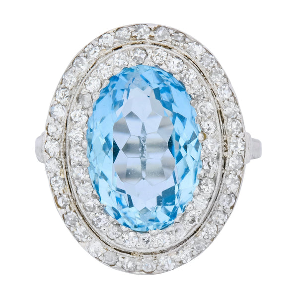 J.E. Caldwell Art Deco 6.40 CTW Aquamarine Diamond Halo Platinum Cluster Ring Ring aquamarine Art Deco cluster diamond J.E. Caldwell