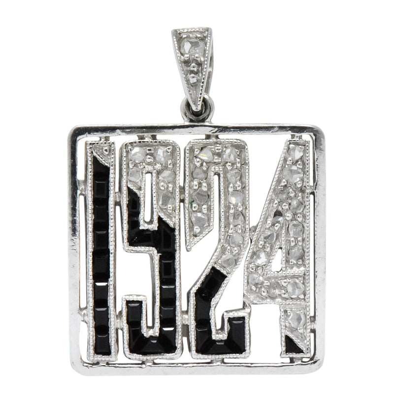 J.E. Caldwell & Co. Art Deco Diamond Onyx Platinum 1924 Charm - Wilson's Estate Jewelry