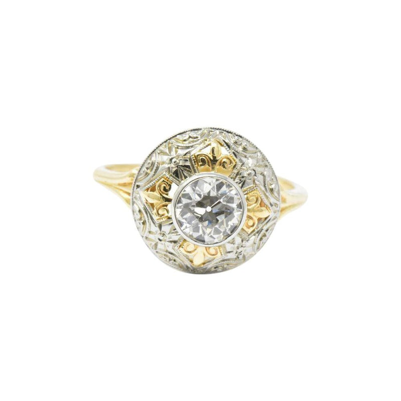 JABEL 0.75 CTW Old European Cut Diamond 14K Gold Tri-Color Dome Alternative Engagement Ring Ring