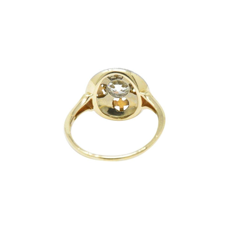 JABEL 0.75 CTW Old European Cut Diamond 14K Gold Tri-Color Dome Alternative Engagement Ring Ring Engagement Tri-Gold
