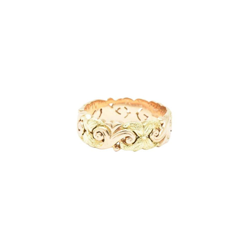 JABEL 14K Yellow & Rose Gold Eternity Wedding Band Stackable Ring Ring