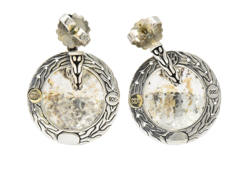 John Hardy 22 Karat Gold Sterling Silver Classic Chain and Disc Earrings - Wilson's Estate Jewelry