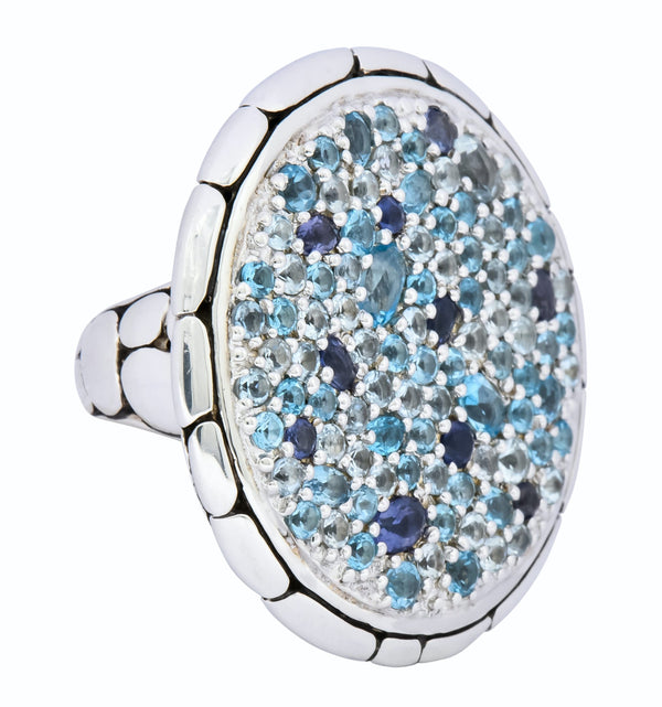 John Hardy Aquamarine Iolite Blue Topaz Sterling Silver Kali Lava fire Ring Ring
