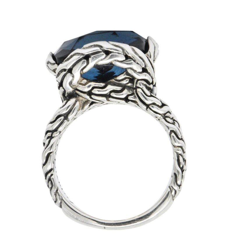 John Hardy Cushion Cut London Blue Topaz Chain Sterling Silver Ring Ring out-of-stock