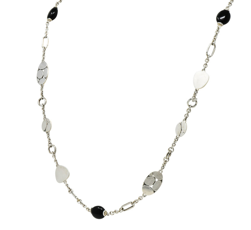John Hardy Onyx Sterling Silver Dot Long Chain Necklace - Wilson's Estate Jewelry