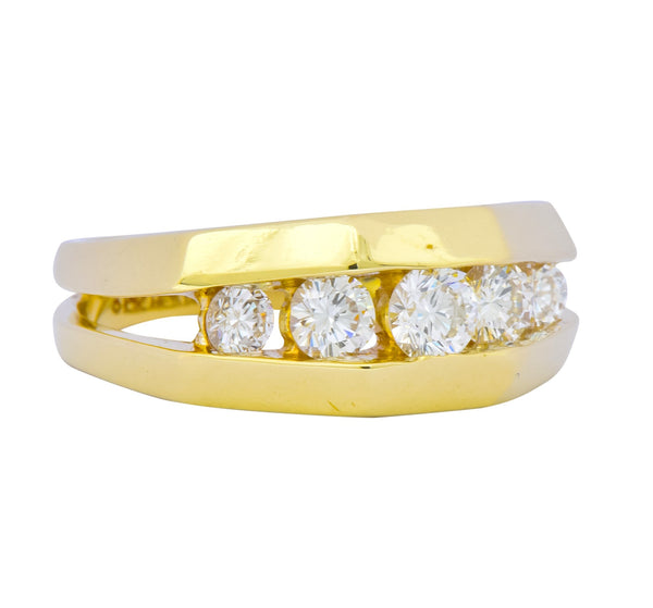 Jose Hess 0.91 CTW Diamond 14 Karat Gold Unisex Band Ring Ring