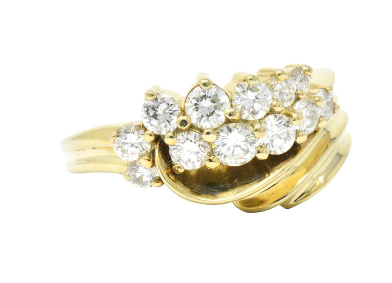 Jose Hess Contemporary 0.60 CTW Diamond 14 Karat Gold Ring Ring