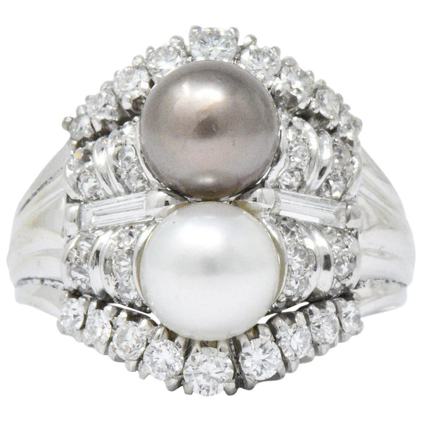 Koch 1950's 1.10 CTW Diamond Cultured Pearl 18 Karat White Gold Ring - Wilson's Estate Jewelry