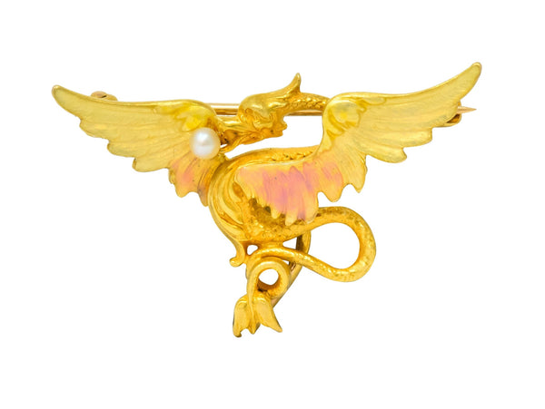 Krementz Art Nouveau 14 Karat Gold Enamel Dragon Watch Pin Brooch Brooch