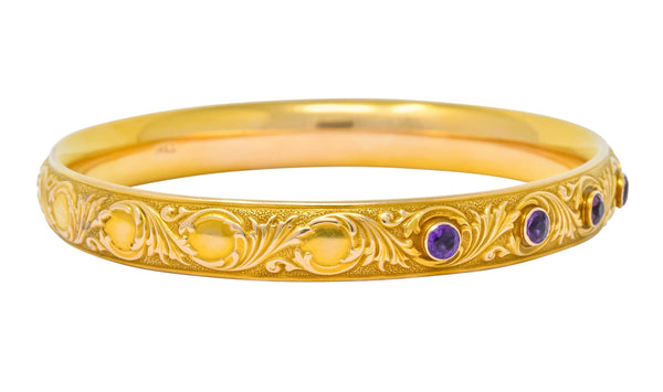 Krementz Art Nouveau Amethyst 14 Karat Gold Engraved Bangle Bracelet Circa 1900 - Wilson's Estate Jewelry