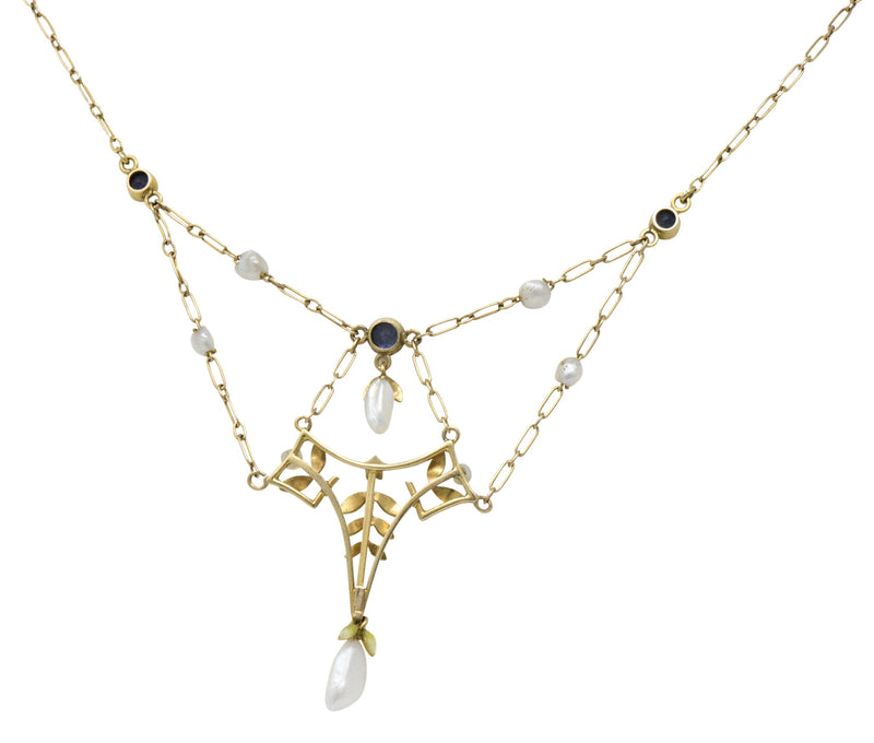 Krementz Art Nouveau Sapphire Enamel Pearl 14 Karat Gold Swag Necklace - Wilson's Estate Jewelry