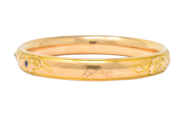 Krementz Diamond Sapphire 14 Karat Gold Engraved Floral Bangle Bracelet - Wilson's Estate Jewelry