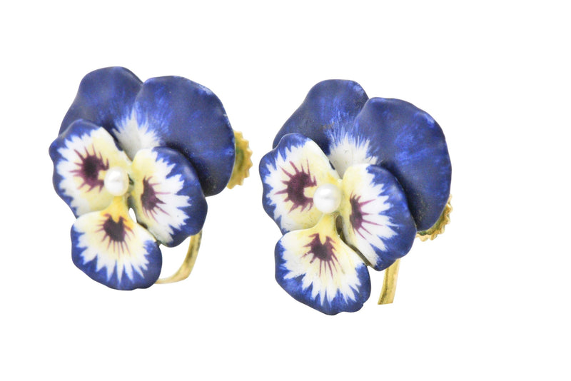 Krementz Enamel Seed Pearl And 14 Karat Gold Pansy Earrings Earrings