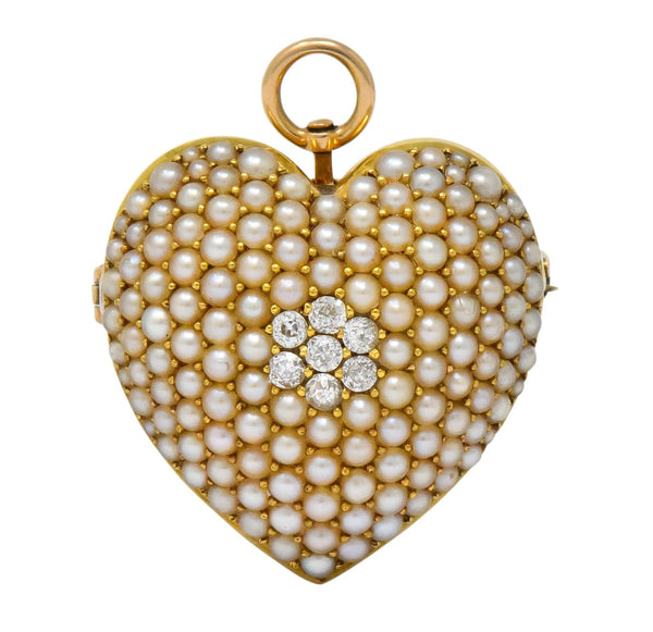 Krementz Late Victorian Diamond Seed Pearl 14 Karat Gold Heart Pendant Brooch Necklace