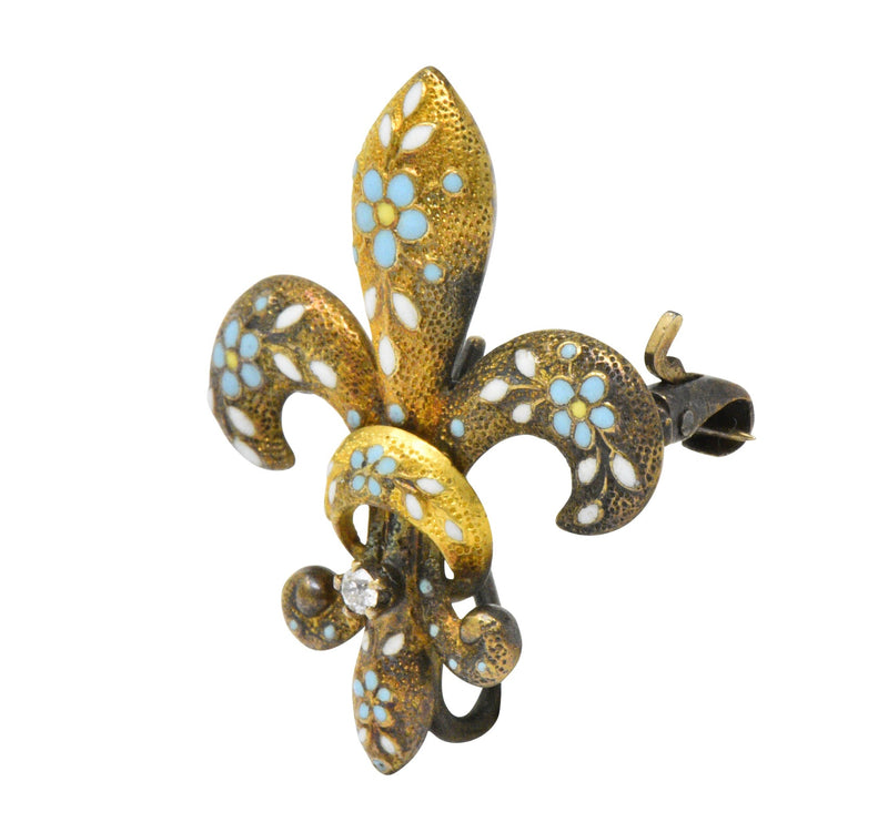 Krementz Victorian Diamond Enamel 14 Karat Gold Fleur-De-Lis Pin Brooch Brooch out-of-stock signed Victorian