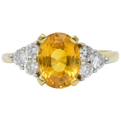 L.M.C 3.30 CTW Orange Sapphire Diamond Platinum 18 Karat Gold Ring Ring