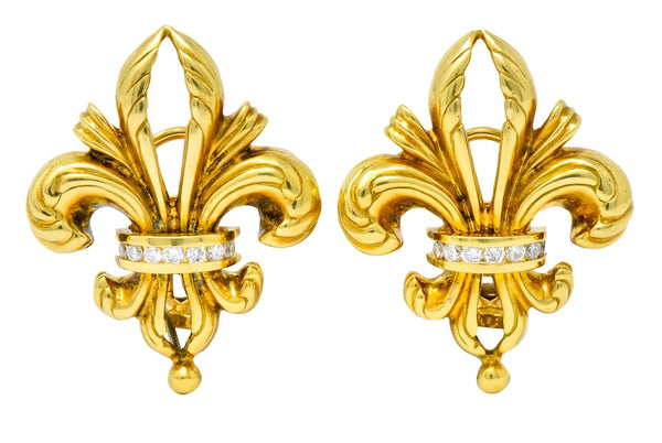 Lagos 1990s Vintage Diamond 18 Karat Gold Fleur-De-Lis Earrings Earrings