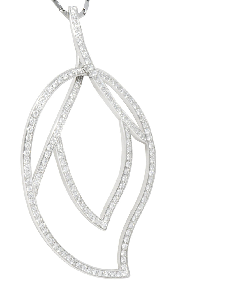 Large Piaget 3.15 CTW Diamond 18 Karat White Gold Leaf Pendant With Chain - Wilson's Estate Jewelry