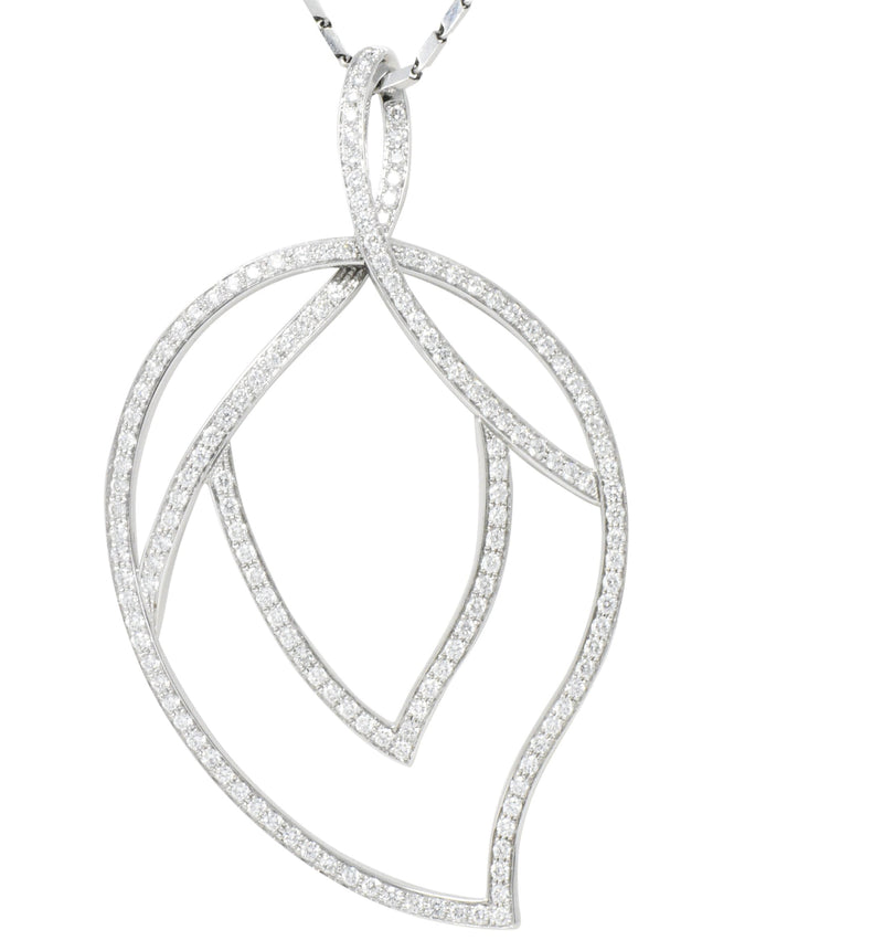 Large Piaget 3.15 CTW Diamond 18 Karat White Gold Leaf Pendant With Chain Necklace