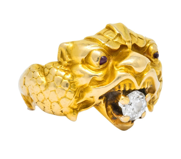 Larter & Sons Art Nouveau Diamond 14 Karat Gold Sea Creature Ring Circa 1890 Ring