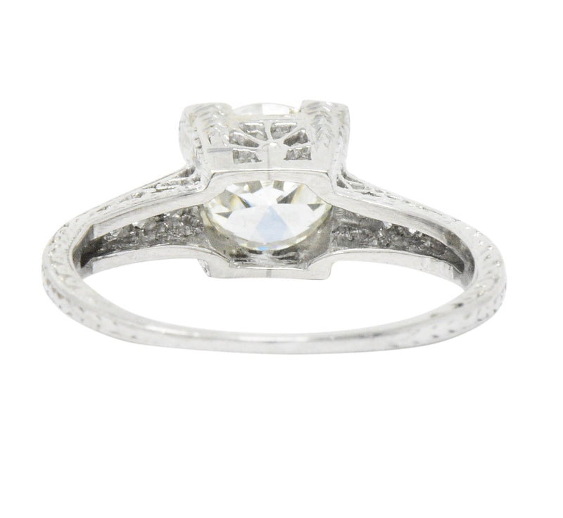 Late Art Deco 1.17 CTW Diamond Platinum Engagement Ring GIA Ring