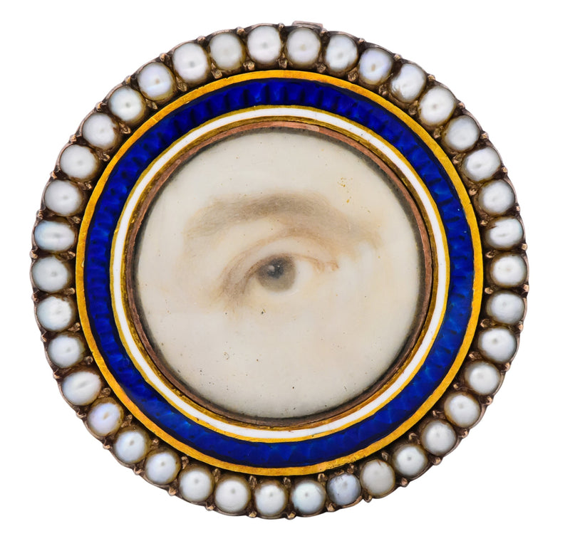 Late Georgian Seed Pearl Enamel 12 Karat Gold Lover's Eye Pendant Brooch - Wilson's Estate Jewelry