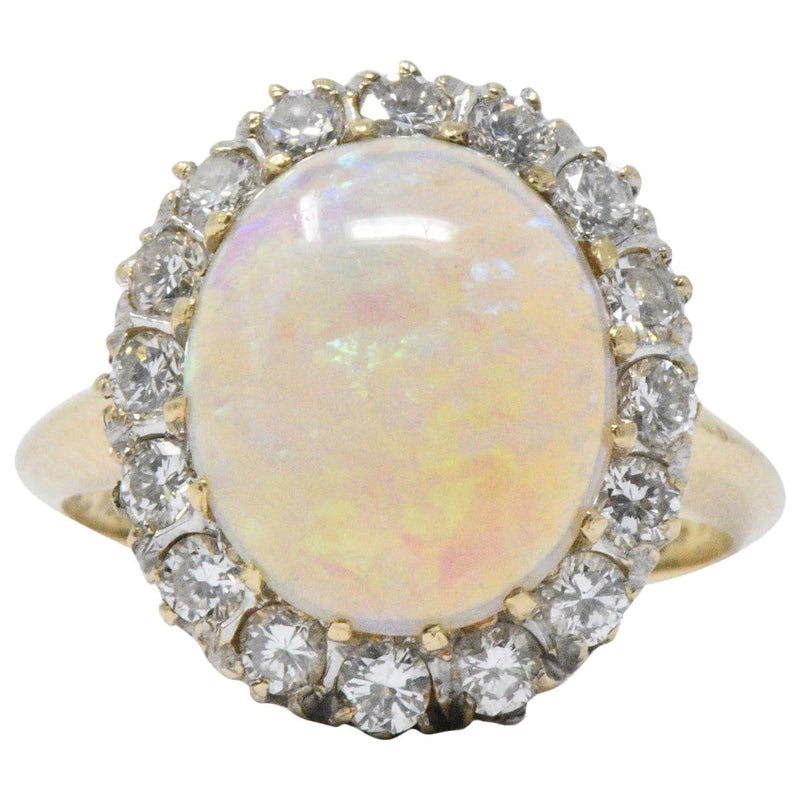 Late Victorian 0.65 CTW Diamond Opal & 14K Gold Ring Ring