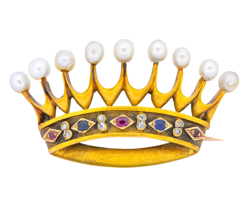 Late Victorian Pearl Sapphire Ruby Diamond 18 Karat Gold Crown Brooch Circa 1890 - Wilson's Estate Jewelry
