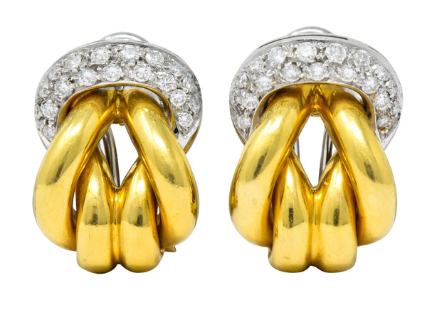 Leo Pizzo Vintage 0.78 CTW Diamond 18 Karat Two-Tone Gold Italian Earrings Earrings
