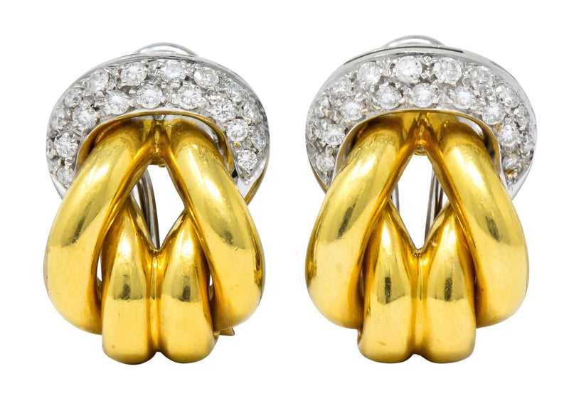Leo Pizzo Vintage 0.78 CTW Diamond 18 Karat Two-Tone Gold Italian Earrings Earrings Contemporary out-of-stock