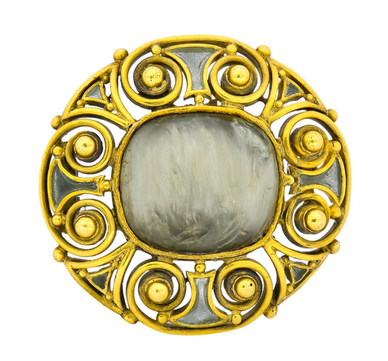 Louis Comfort Tiffany & Co. Arts & Crafts Hardstone Plique-à-Jour Enamel 18 Karat Gold Brooch - Wilson's Estate Jewelry