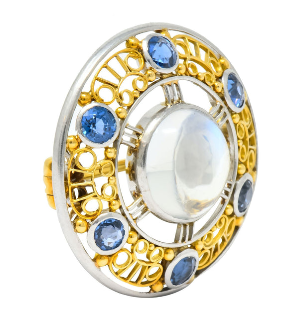 Louis Comfort Tiffany & Co. Art Nouveau Sapphire Moonstone Platinum-Topped 18 Karat Gold Brooch Brooch