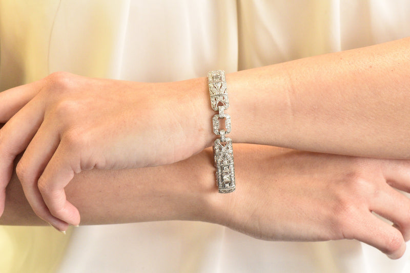 Lovely Art Deco 6.15 CTW Diamond Platinum Old European Bracelet bracelet