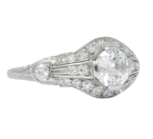 Lovely Edwardian 0.80 CTW Diamond Platinum Engagement Ring Ring