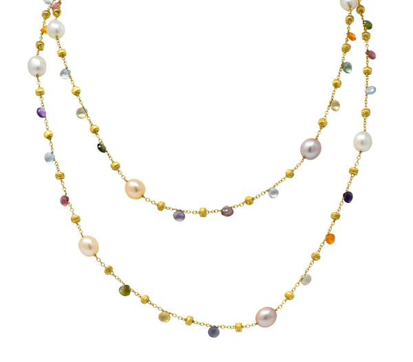 Marco Bicego Cultured Pearl Citrine Topaz Multi Gemstone 18 Karat Gold Necklace Necklace