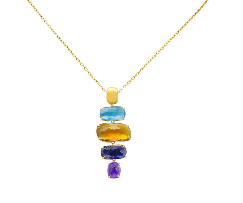 Marco Bicego Multi-Gem 18 Karat Gold Topaz Citrine Amethyst Iolite Drop Necklace - Wilson's Estate Jewelry