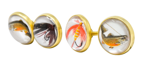 Marcus & Co. Victorian Painted Carved Rock Crystal 14 Karat Gold Men's Fishing Cufflinks - Wilson's Estate Jewelry