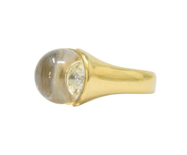 Mauboussin Paris Diamond Rock Crystal 18 Karat Gold Ring - Wilson's Estate Jewelry
