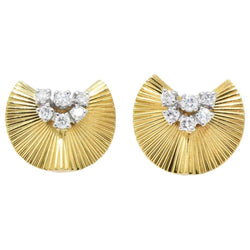 McTeigue & Co. .40 Carat Retro 18K Yellow Gold & Platinum Diamond Earrings Earrings out-of-stock Retro signed